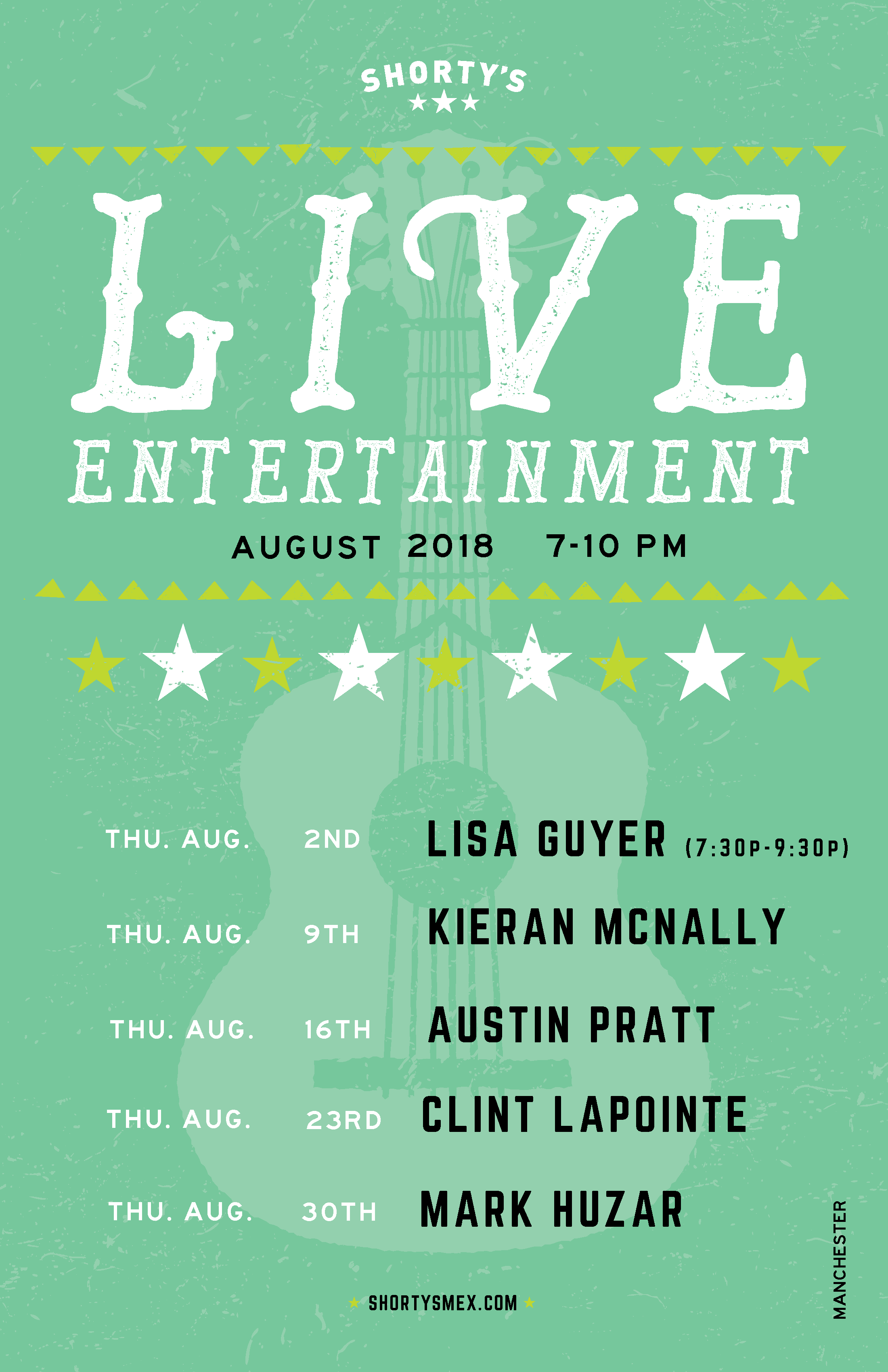 August Live Entertainment Schedule for Shorty's Manchester