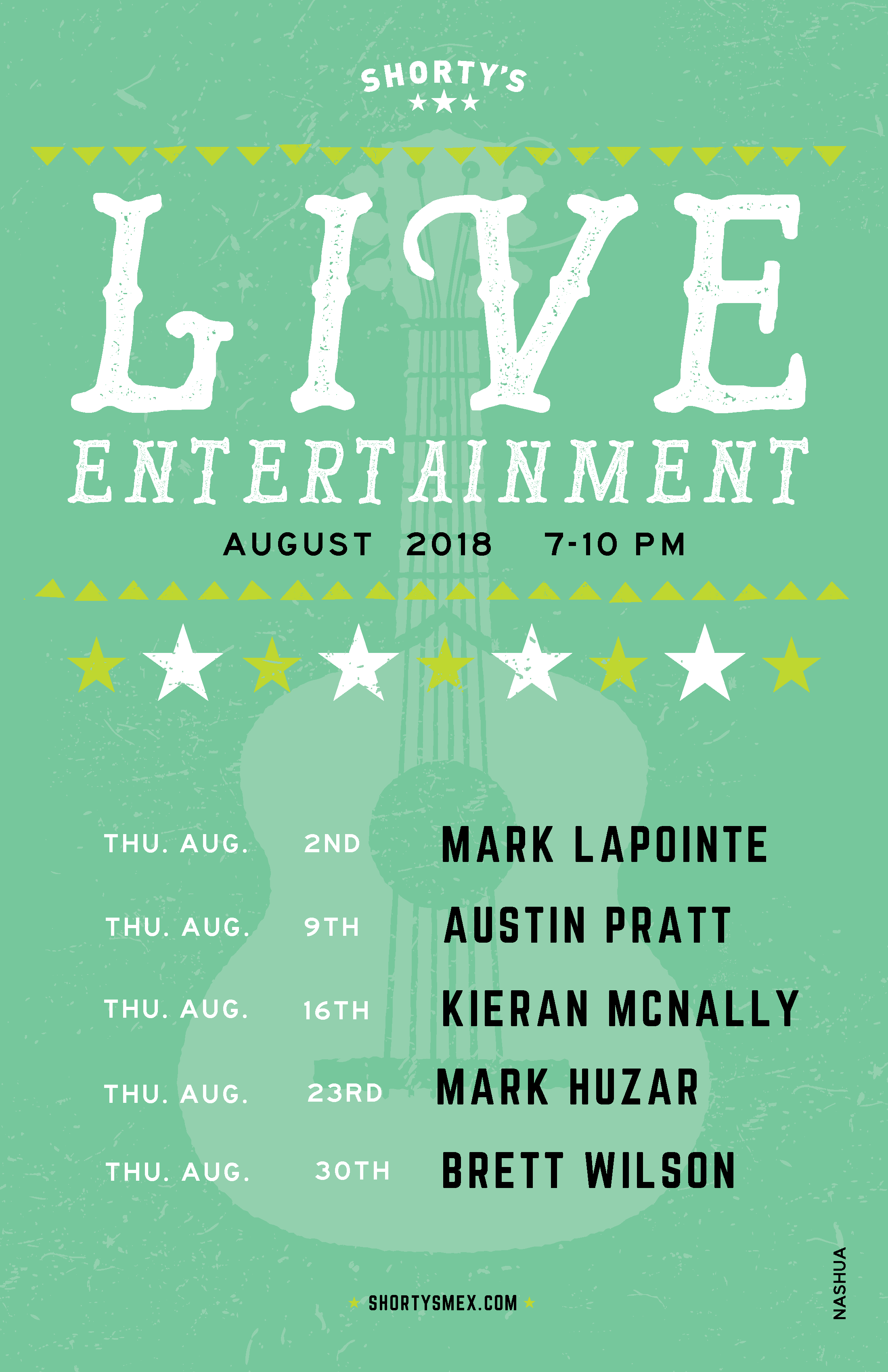 August Live Entertainment Schedule for Shorty's Nashua