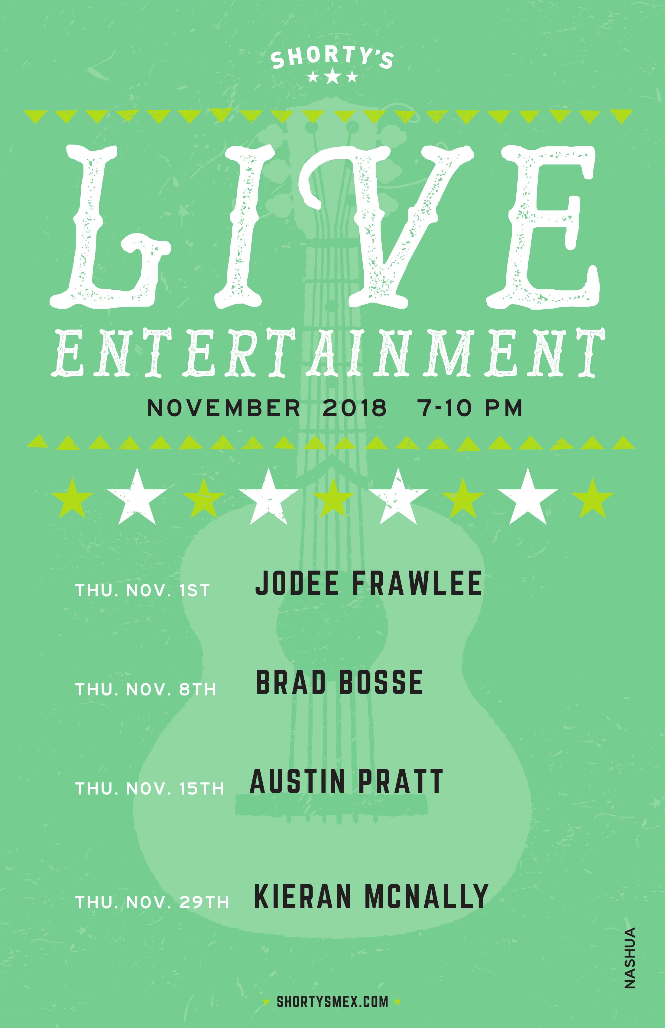 Shorty's Live Entertainment Calendar - November in Nashua