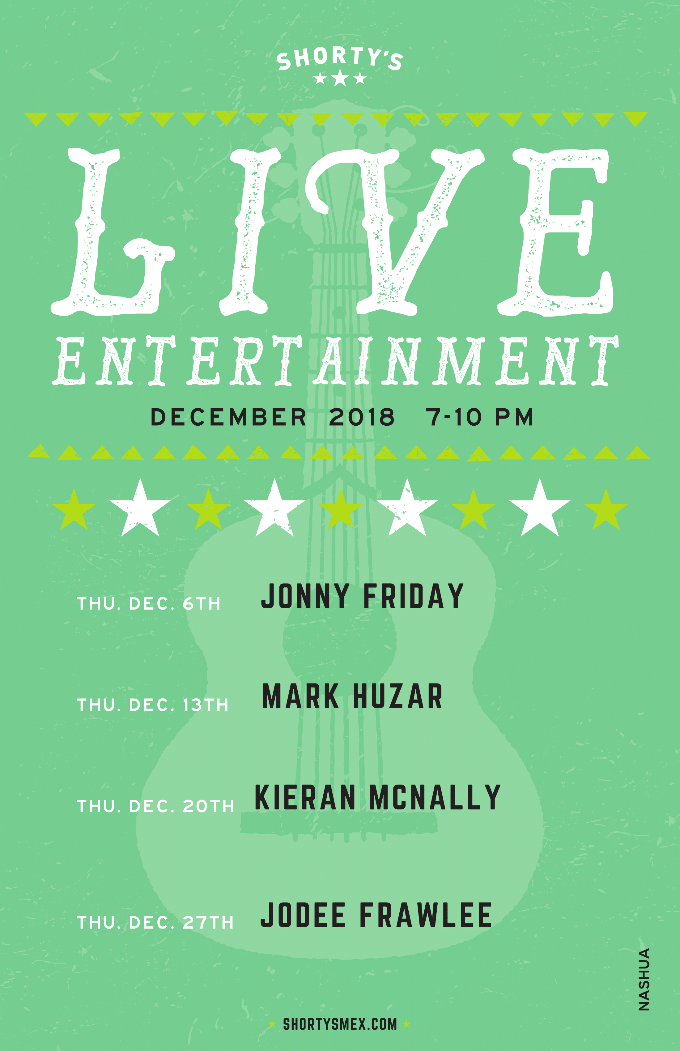 Shorty's Live Entertainment Calendar - December in Nashua