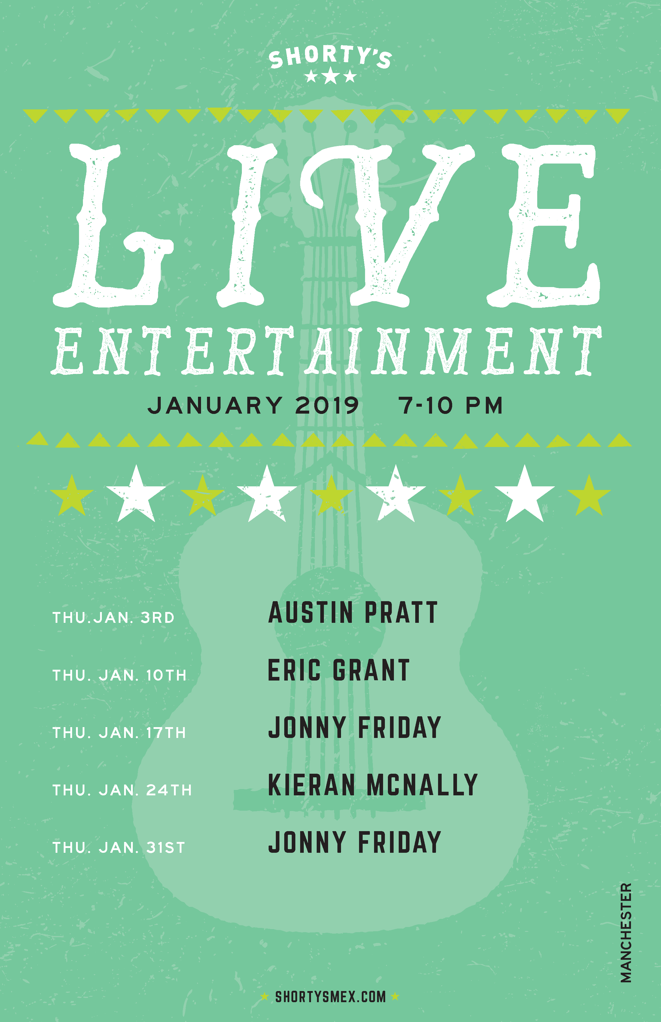 Shorty's Live Entertainment Calendar - January in Manchester