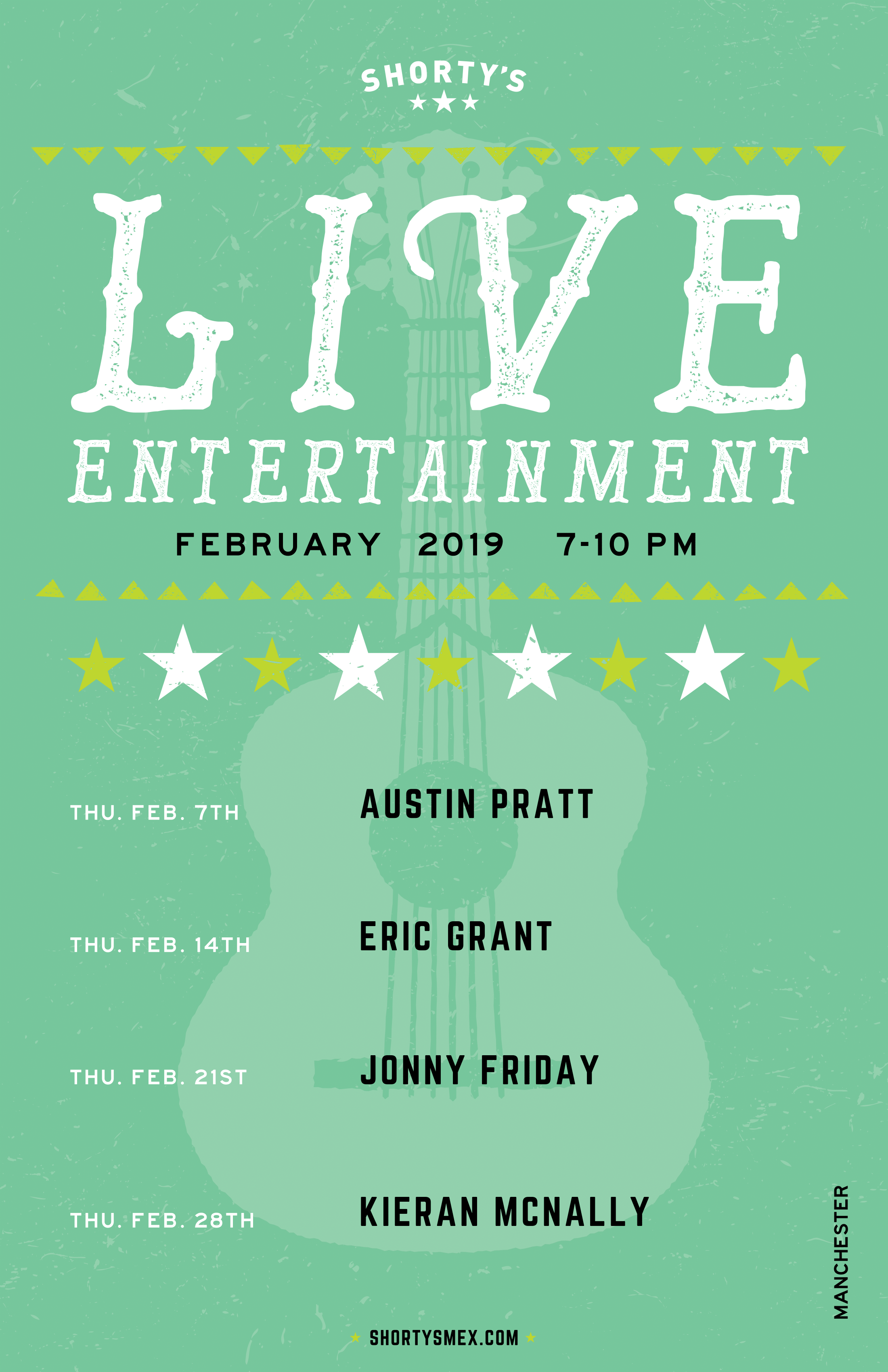 Shorty's Live Entertainment Calendar - February in Manchester