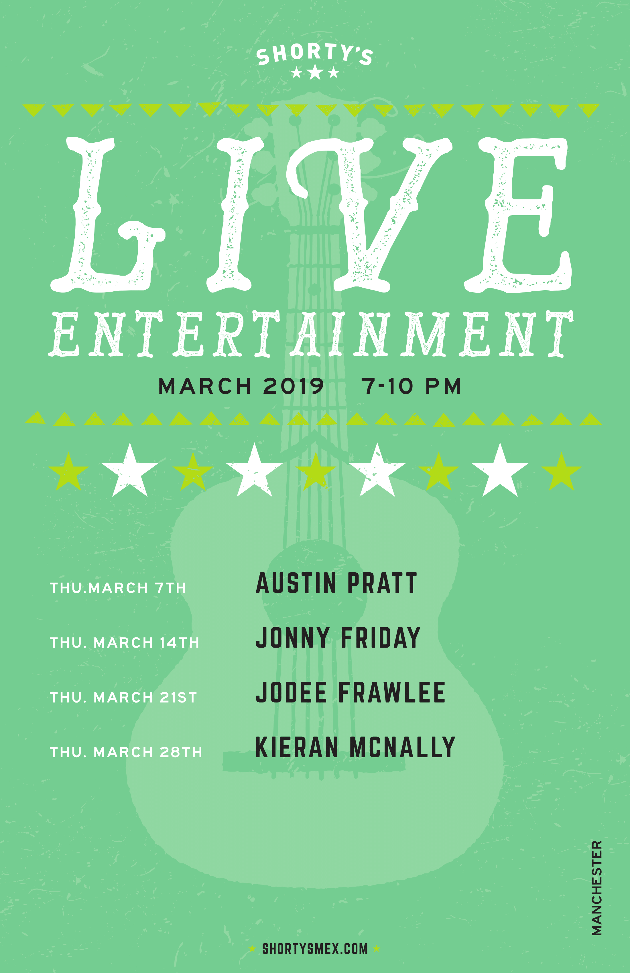 Shorty's Live Entertainment Calendar - March in Manchester