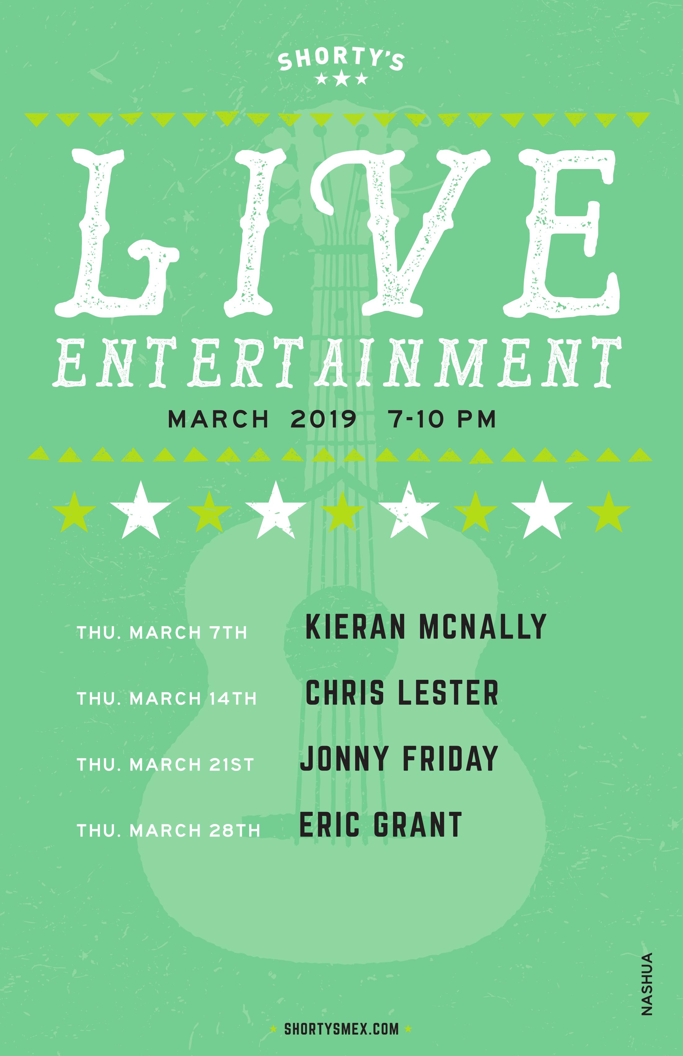 Shorty's Live Entertainment Calendar - March in Nashua