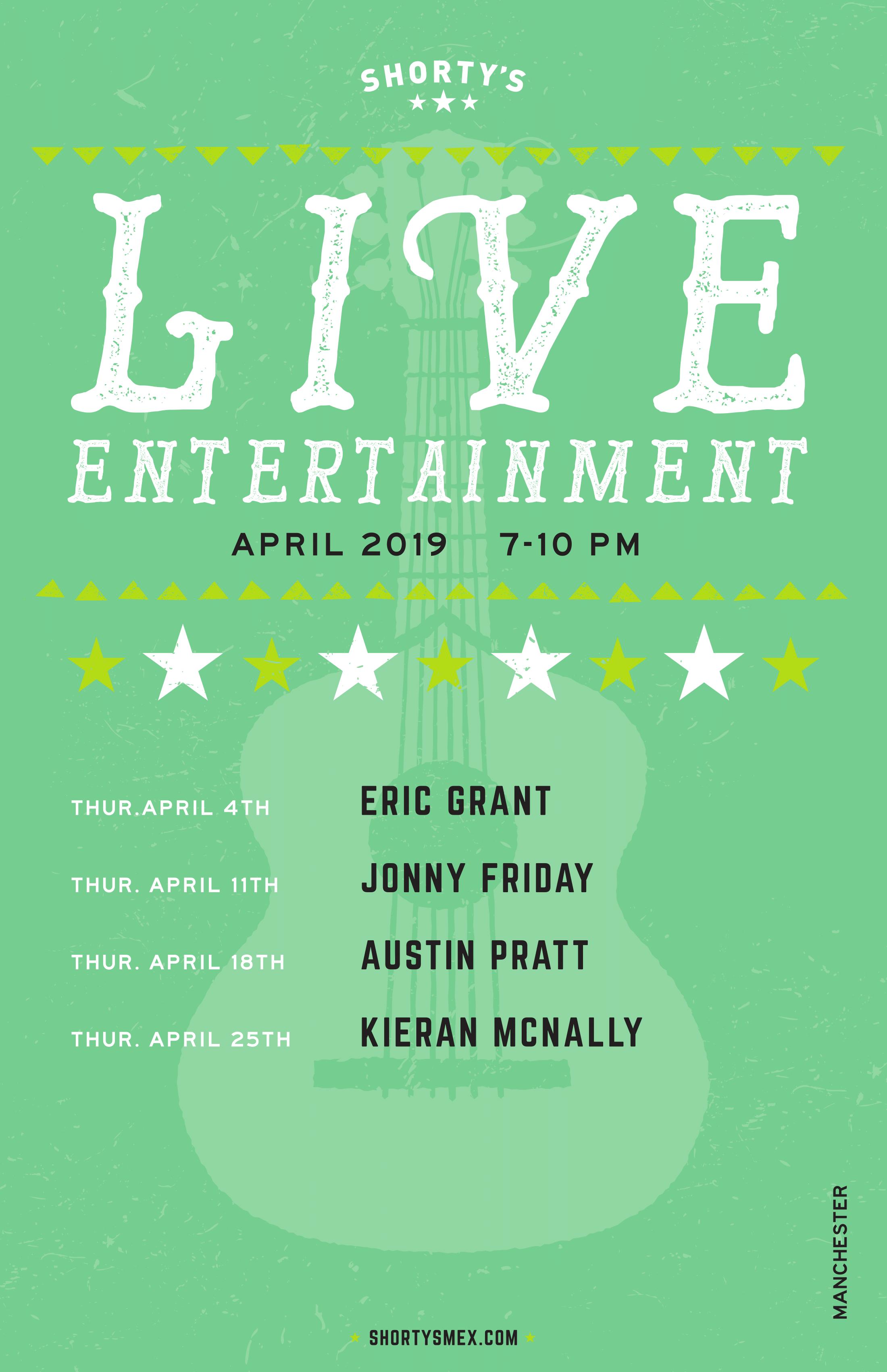Shorty's Live Entertainment Calendar - April in Manchester