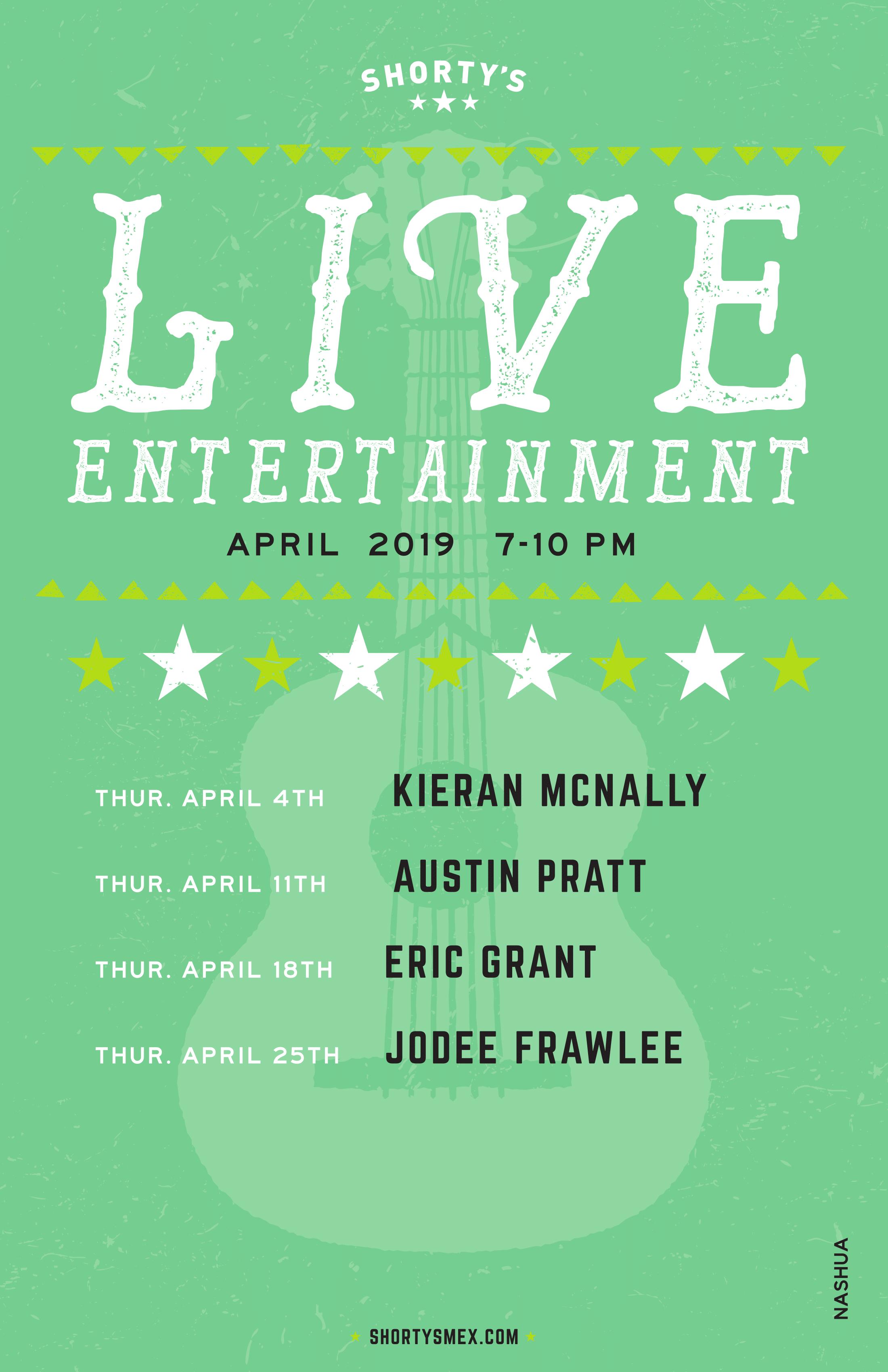 Shorty's Live Entertainment Calendar - April in Nashua