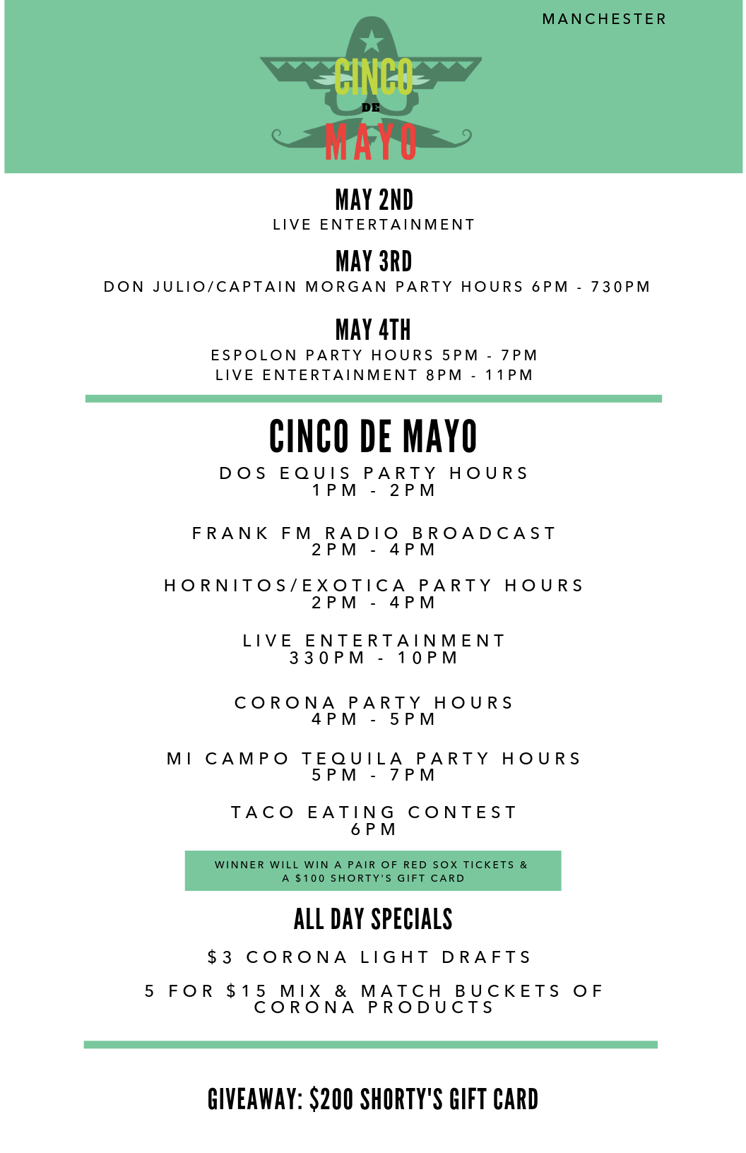 Cinco de Mayo Specials in Manchester