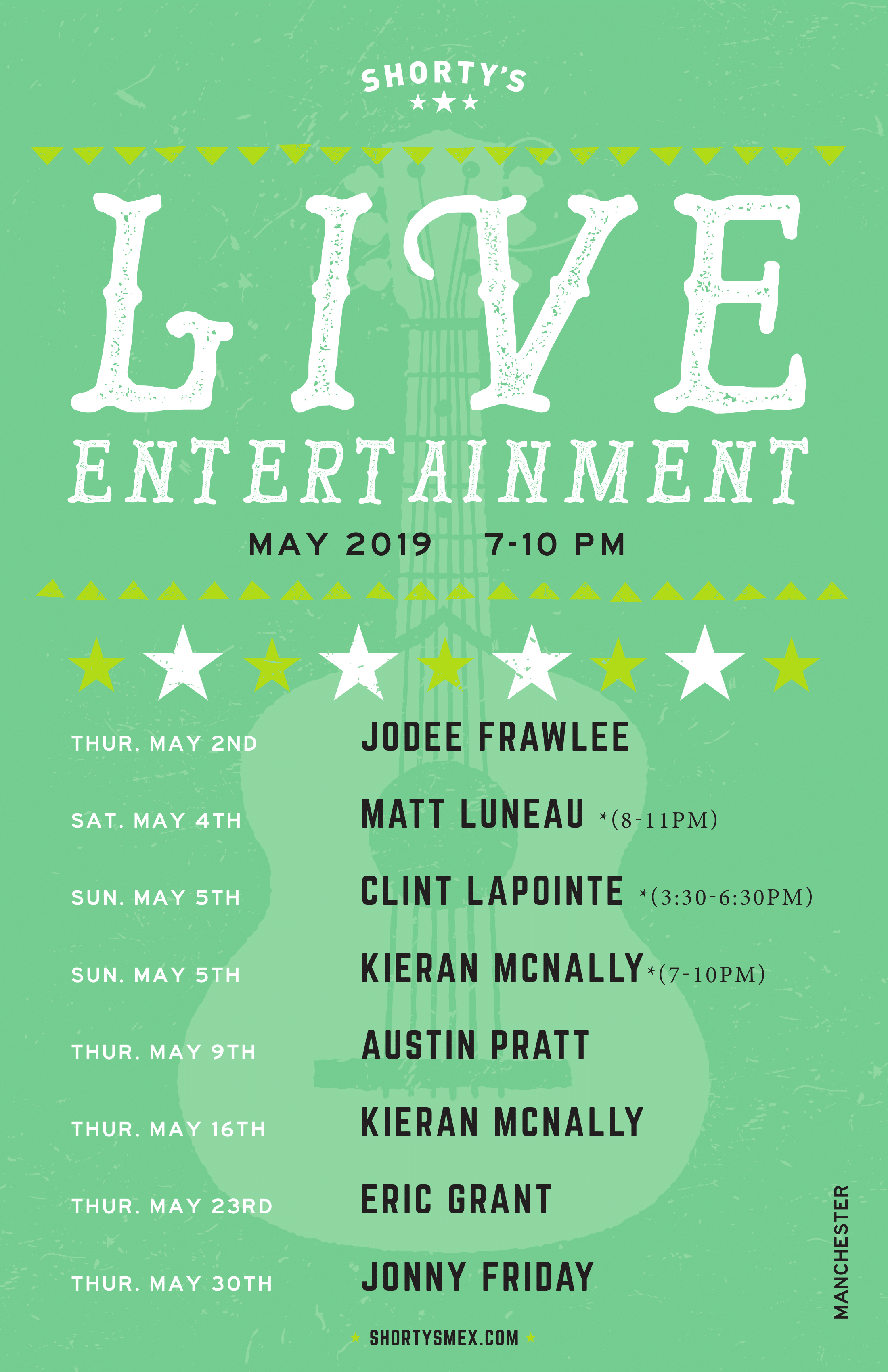Shorty's Live Entertainment Calendar - May in Manchester