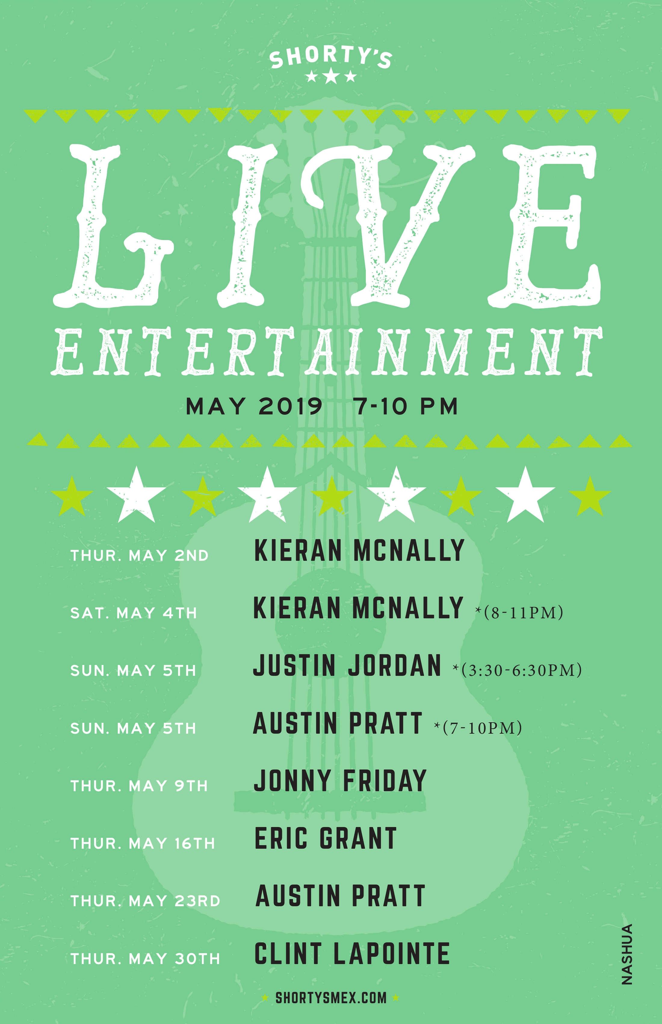 Shorty's Live Entertainment Calendar - May in Nashua