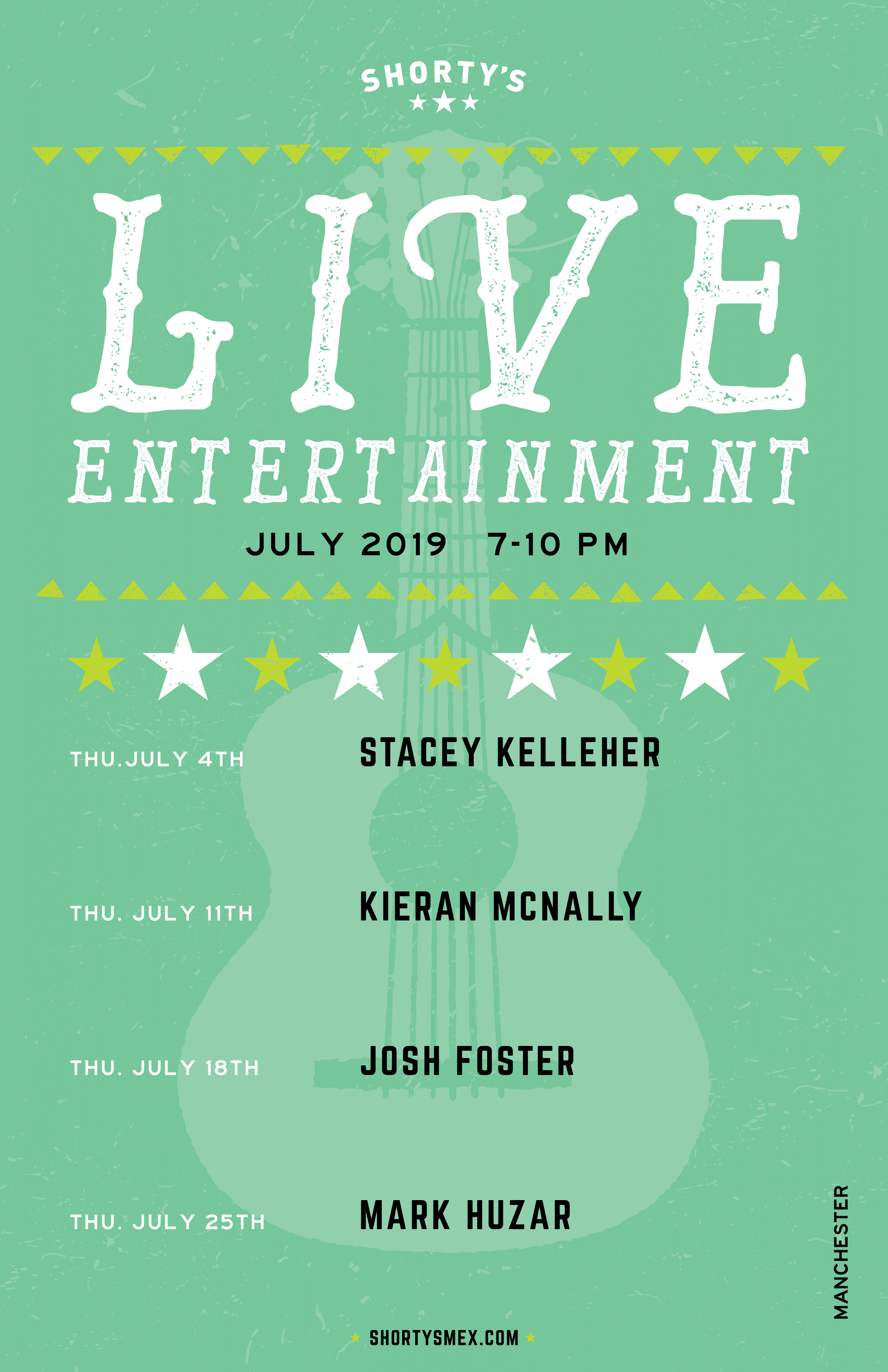 July Entertainment Schedule for Shorty's Manchester