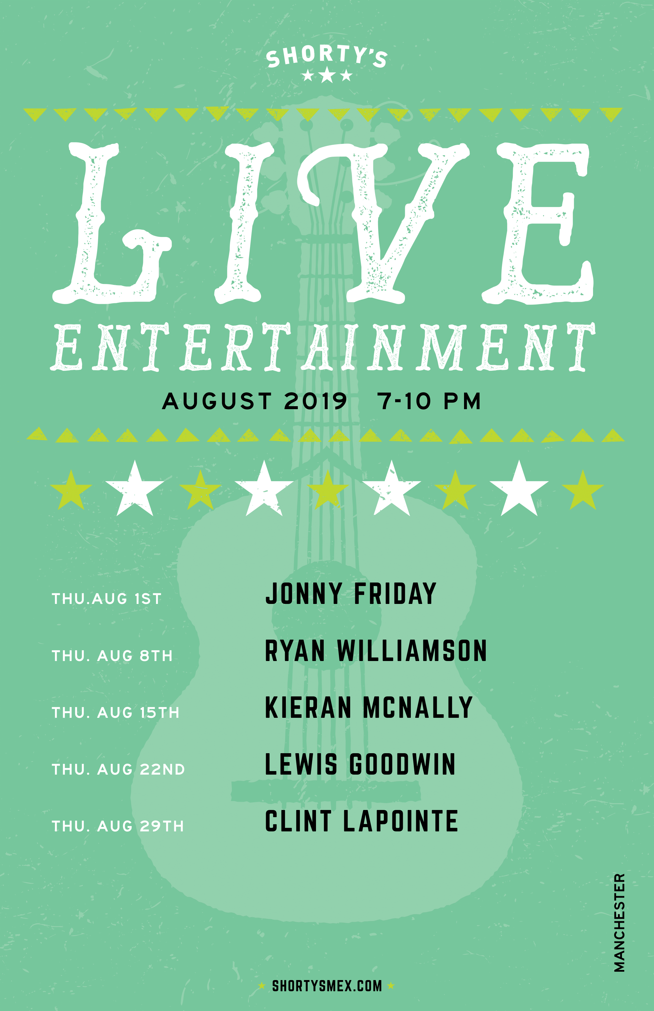 August Entertainment Schedule for Shorty's Manchester