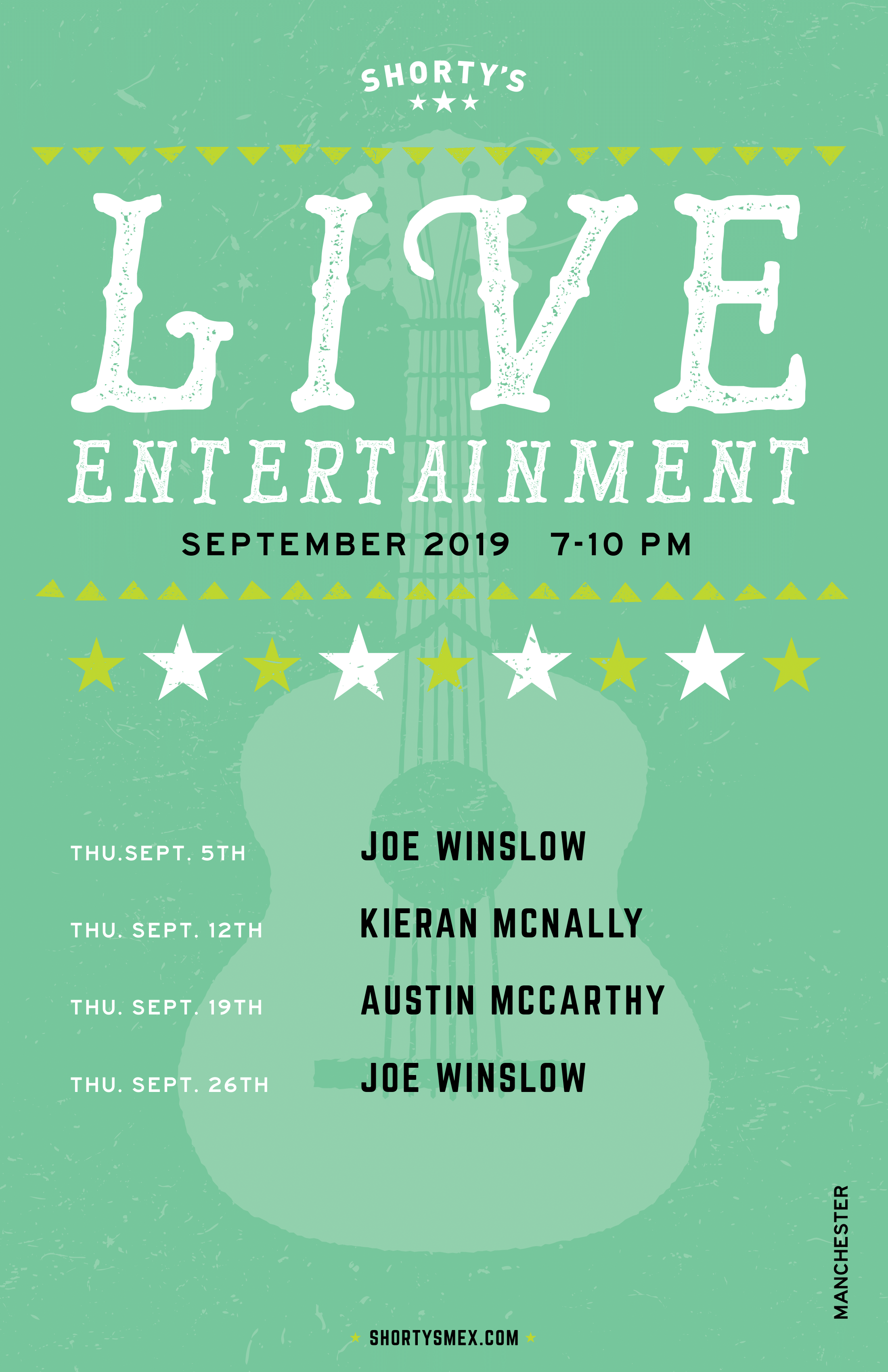 September Entertainment Schedule for Shorty's Manchester