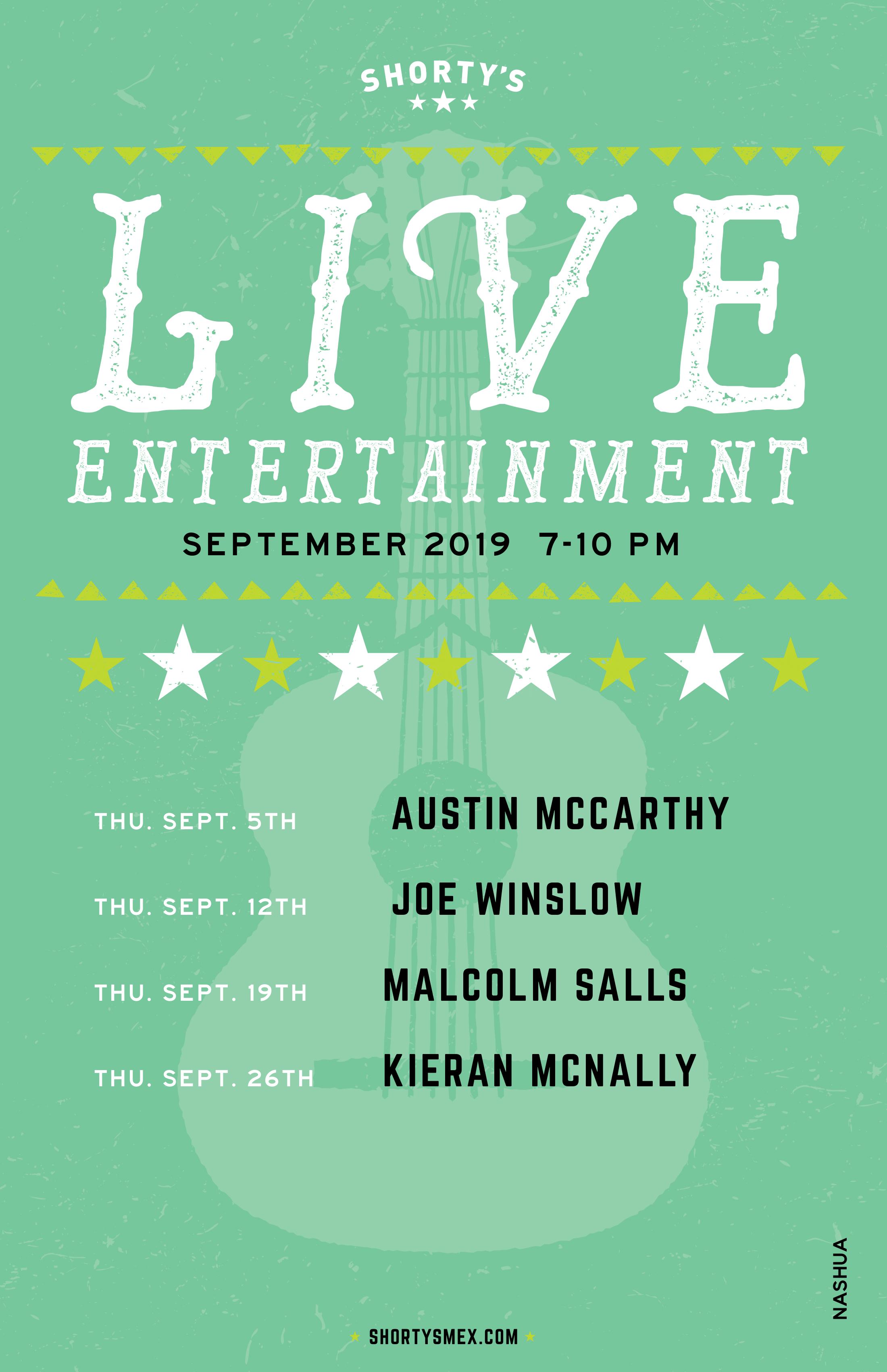 September Entertainment Schedule for Shorty's Nashua