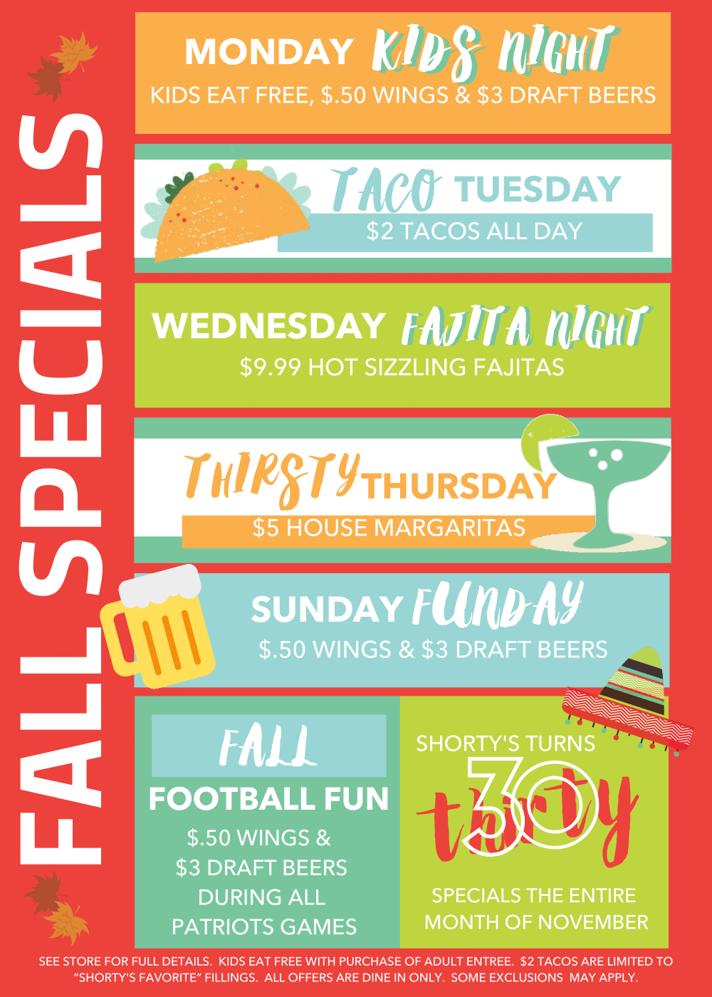 Shorty's Fall Specials