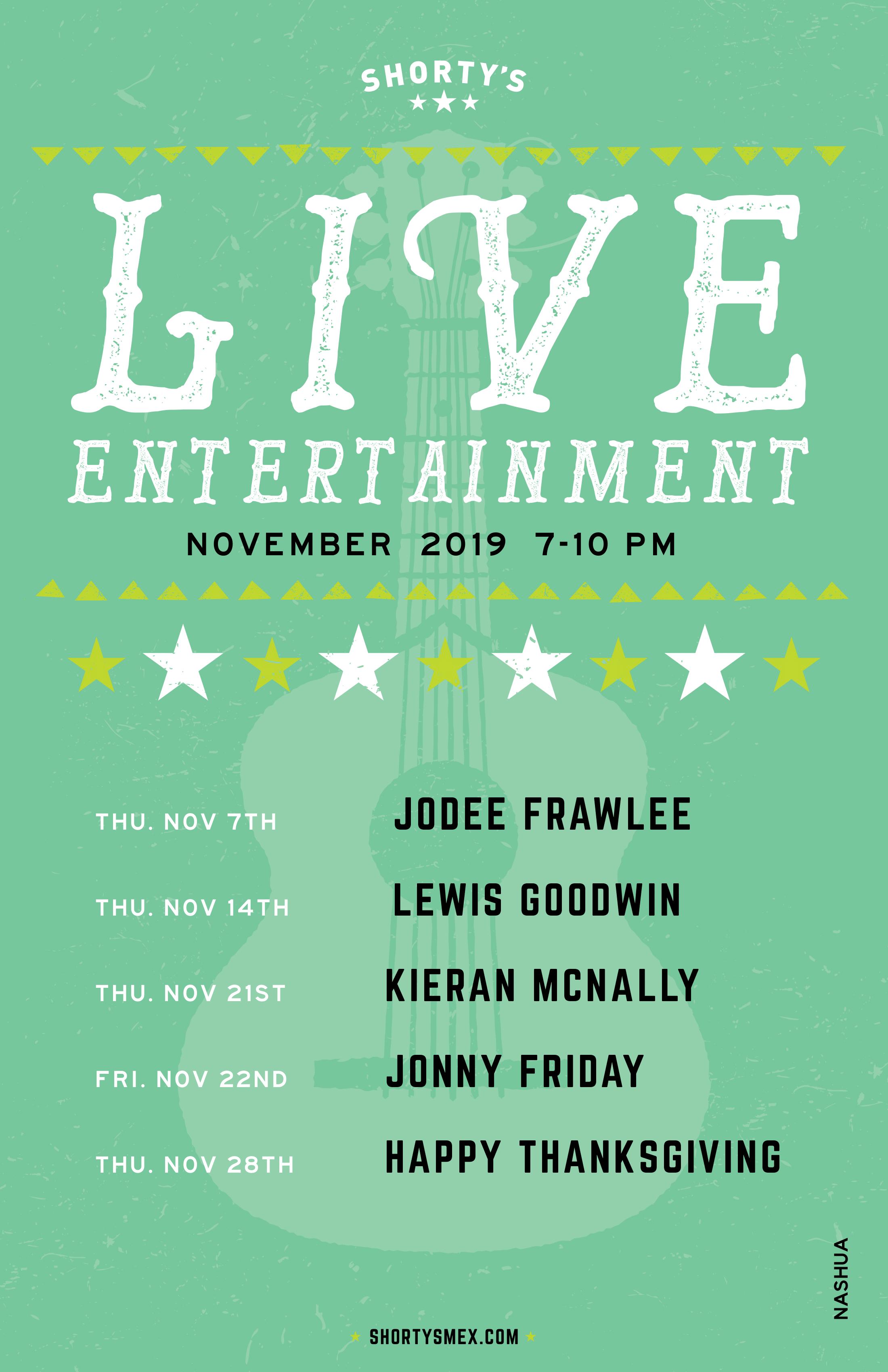 November Entertainment Schedule for Shorty's Nashua
