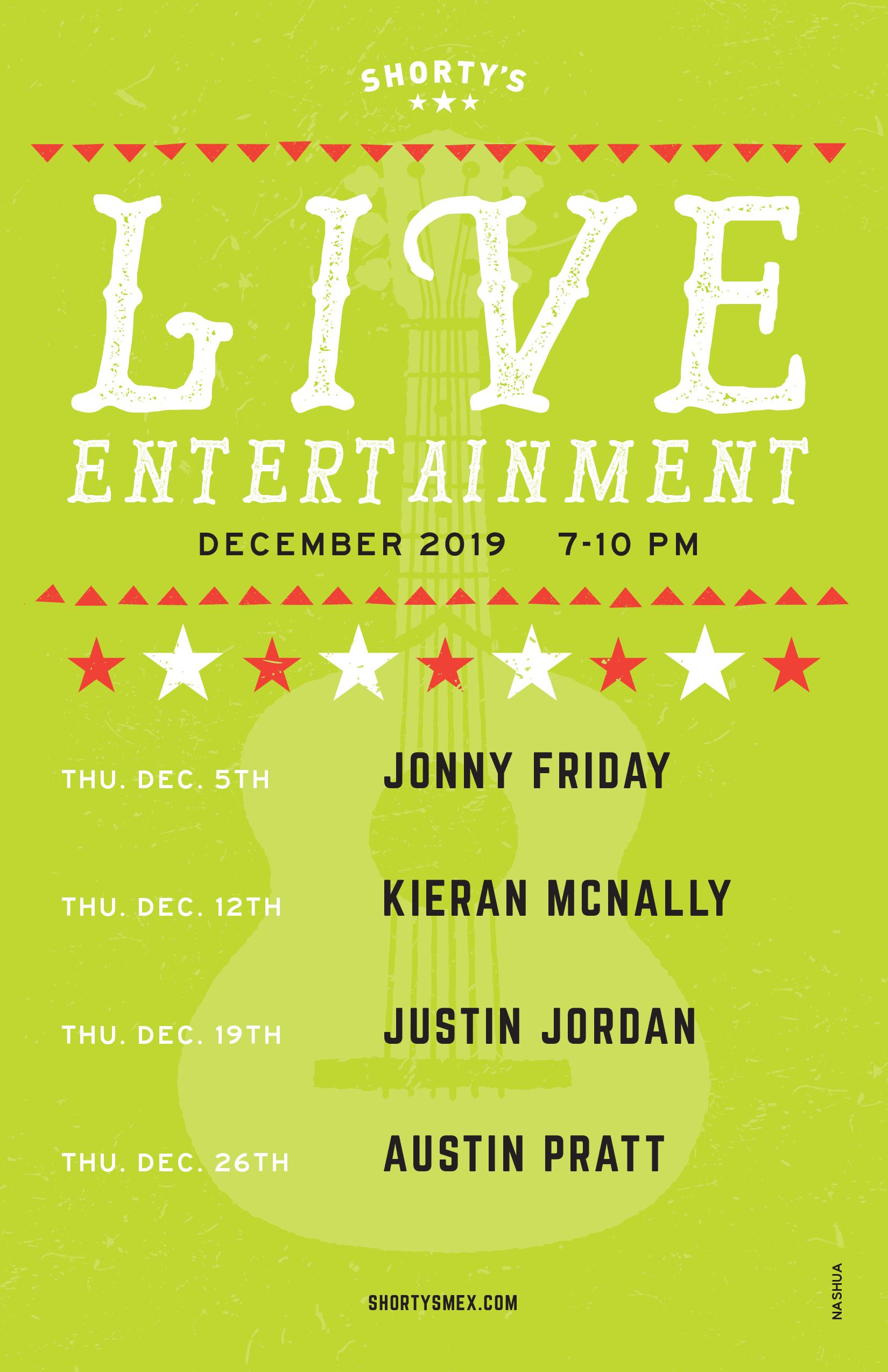 December Entertainment Schedule for Shorty's Nashua