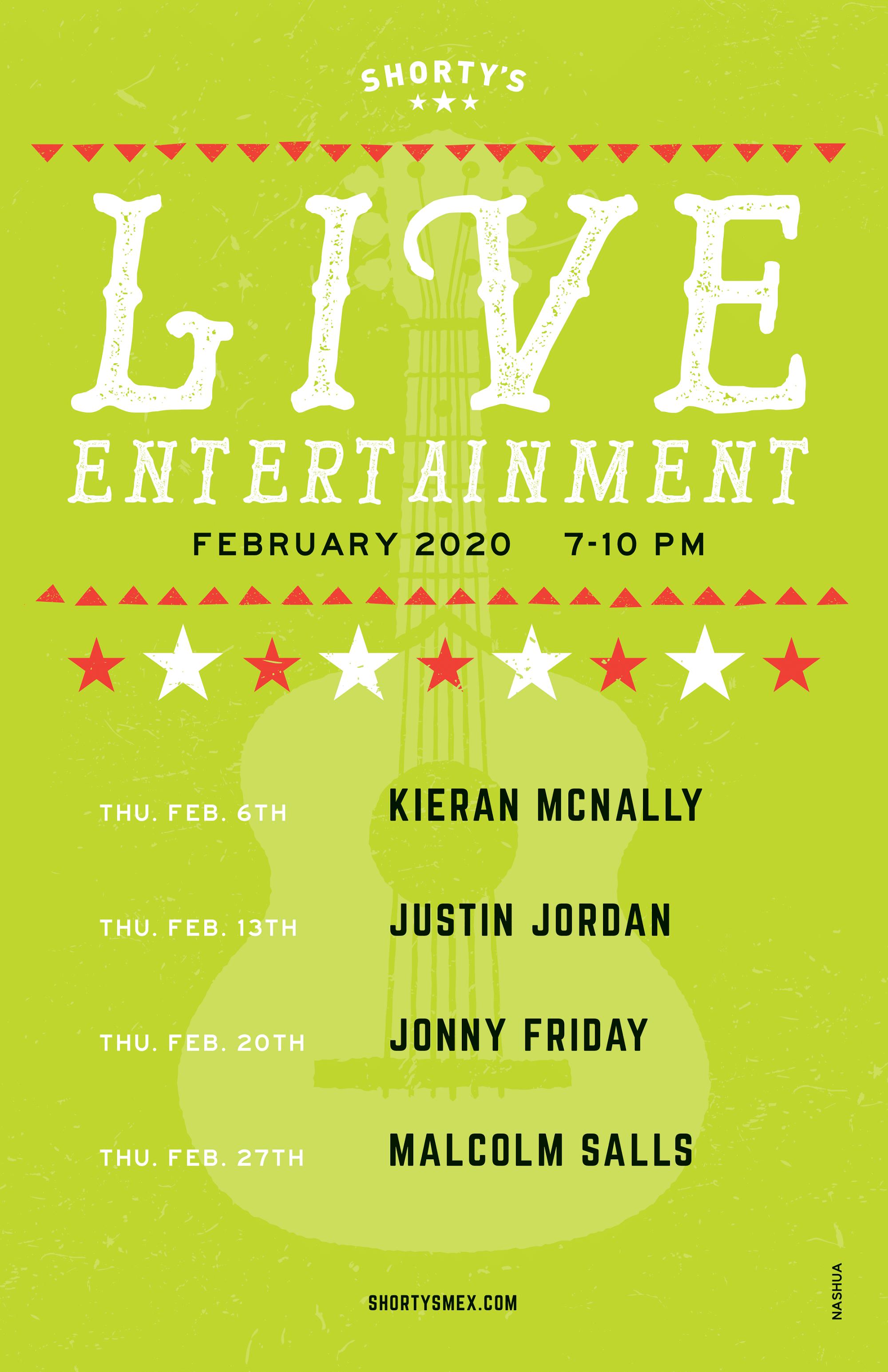 February Entertainment for Shorty's Nashua